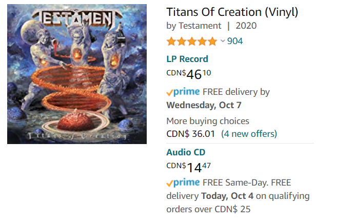 testament record price